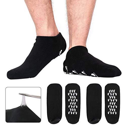 Sunnysam - Calcetines de Gel hidratante para Hombres Grandes, Cuidado de pies para Hombres, Tratamiento definitivo para Pieles ásperas y agrietadas en seco, Paquete de 2 Pares de Hombres neg