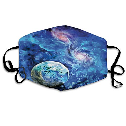 Reusable half bandanas M-shaped nose clip,Exo Solar Planet Painting Style Vibrant Universe Awesome Space,breathable sports mouth cover