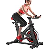 YoleoStore Upright Exercise Bikes (Indoor Studio Cycles) - Studio Quality with Heart Rate Monitor, Large Bidirectional Flywheel, Belt Drive, Infinite Resistance, LCD Displays, Hand Pulse