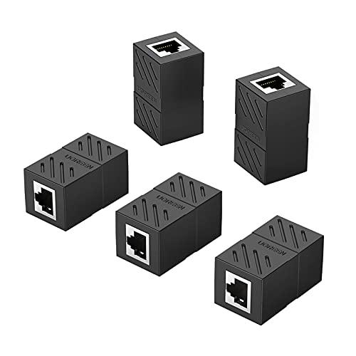 UGREEN RJ45 Coupler Ethernet Extender Connector 5 Pack Inline Coupler Cat7 Cat6 Cat5e Ethernet Cable Adapter Female to Female Black