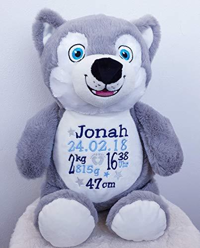 Peluche Loup personnalisé brodé du prénom de bébé