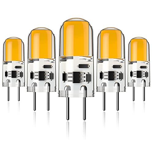 XIX 5-Pack DC12V 4W G6.35 LED lampadina Bi-Pin Base 40W Equivalente Lampadina G6.35/GY6.35 LED Bianco Caldo 3000K [Classe di efficienza energetica A+]