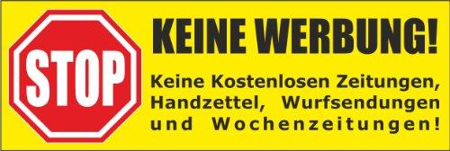 Keine Werbung! 5 gelbe Briefkastenaufkleber 105x35 mm- Keine kostenlosen Zeitungen, Handzettel, Wurfsendungen und Wochenzeitungen!