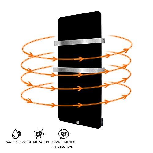 Infrarotheizung 600 Watt Glas Infrarot Heizung Design Elektrischer Heizkörper doppelte Glaswand montierte Schwarz