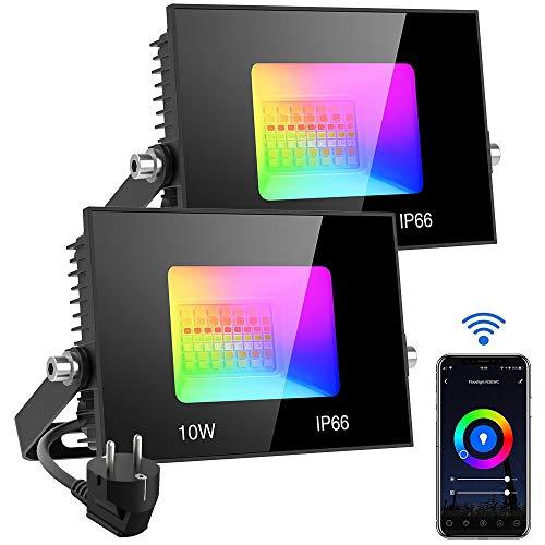 Olafus RGB LED Strahler WiFi Fluter Außen 10W, 2 Pack IP66 Wasserdicht LED Flutlicht Telefon APP-Steuerung 16 million Farben und 20 Modi, Smart Außenstrahler Kompatibel mit Alexa Google Home
