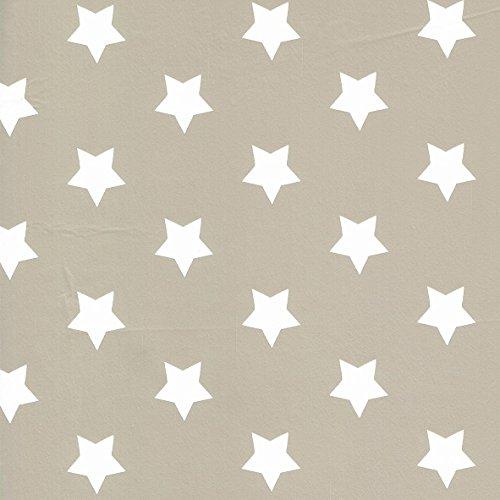 Nappe en toile cirée au mètre, motif étoiles, taille au choix, carrée, ronde, ovale (120 cm, rond, M90353 taupe-gris)