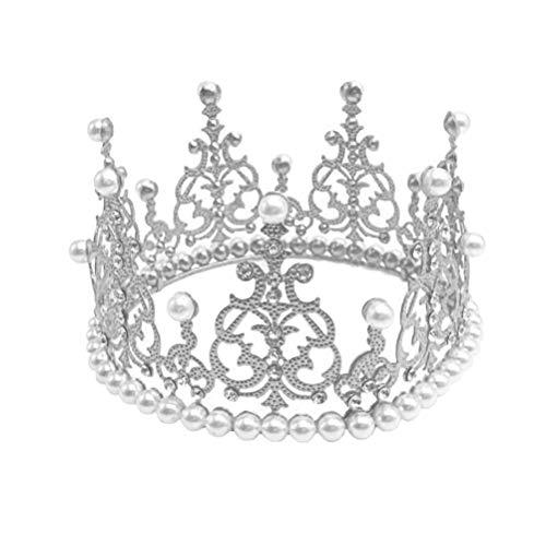 BESTONZON Crown Cake Topper Dekoration mit Strass und Perlen im Vintage-Stil Royal Mittelstück Stirnband Krone für Party Hochzeit (Silber)