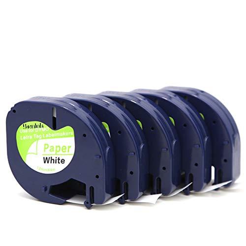 Dymo LetraTag bänder 12mm x 4m paper white Schriftband 5 rollen für 91220 S0721520 Kompatibel mit Dymo LetraTag LT-100H LT-100T LT-110T
