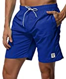 SHEKINI Men's Swim Trunks Quick Dry Slim fit Lightweight Beach Shorts with Pockets (XXX-Large (Waist:38'), Sapphire Blue - No Mesh Lining)