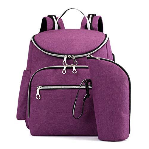 Grote luiertas, rugzak, anti-water-omstand, luiertassen, luiertassen met geïsoleerde zakken en kinderwagengordels, multifunctionele reisrugzak, ingebouwde USB-oplaadpoort 29 * 11 * 34cm paars