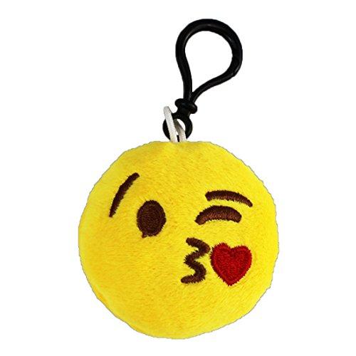 Emoji Schlüsselanhänger Kuss MIT Herz Smiley aus Plüsch Face Throwing a Kiss Heart Kissing Bussi hochwertiger Emoticon Anhänger mit Schlaufe und Karabiner-Haken von wortek