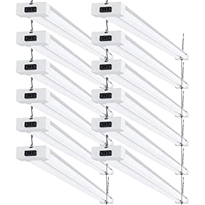 Sunco Lighting 12 Pack LED Utility Shop Light, 4 FT, Linkable Integrated Fixture, 40W=260W, 5000K Daylight, Frosted Lens, 4100 LM, Surface + Suspension Mount, Pull Chain, Garage - ETL, Energy Star