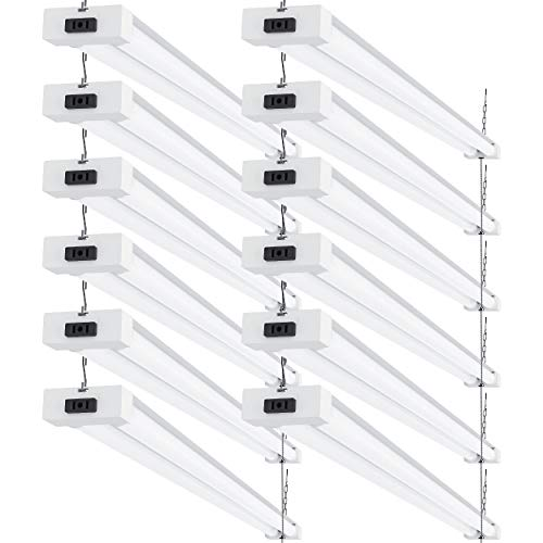Sunco Lighting 12 Pack LED Utility Shop Light, 4 FT, Linkable Integrated Fixture, 40W=260W, 6000K Daylight Deluxe, 4100 LM, Frosted Lens, Surface/Suspension Mount, Pull Chain, Garage - ETL