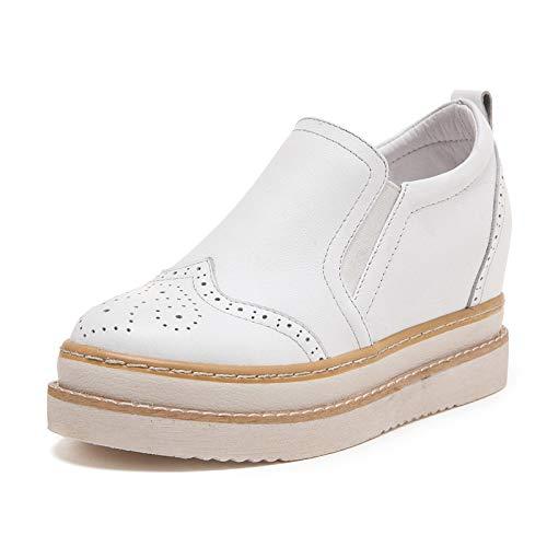 Zapatos Casuales De Otoño Zapatos De Mujer De Cuero De Altura Interior Zapatos Individuales De Mujer De Suela Gruesa Zapatos Casuales Para Mujer 35 Blanco