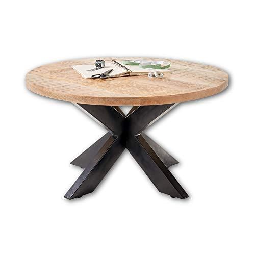 ACE Couchtisch rund Massivholz Mango mit schwarzem Metallgestell - hochwertiger & naturbelassener Sofatisch für Ihren Wohnbereich - 80 x 47 x 80 cm (B/H/T)