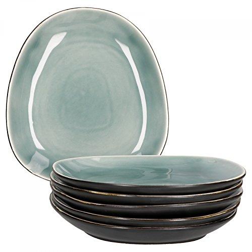 Van Well Elements 6-TLG. Speisetellerset | große Menü-Teller| edle Geschirr-Kollektion | Steingut glasiert | Farbe:grün-schwarz