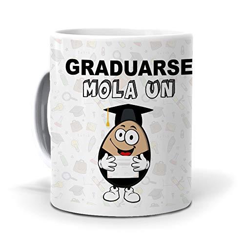 Taza Regalo Personalizado y Divertido Graduado. Graduarse Mola un Huevo. Cerámica AAA - 350 ml.