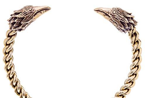 Windalf Herren Vinkings Armreif Ravon Ø 6.5 cm Wikinger Raben Odin Armschmuck Ethno Design Handarbeit Bronze