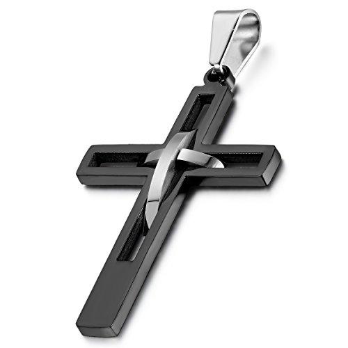 Cupimatch Edelstahl Hohle Openwork Kreuz Anhänger mit 55cm Kette, Halskette für Herren Damen, schwarz Silber