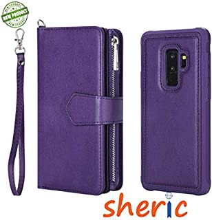 SHERIC case for Galaxy S9+, Premium Synthetic Leather wallet Flip Credit Card Holder Purse Wristlet Wrist Strap Ladies Full Body Rugged shockproof wallet Cover for Galaxy S9 plus (Purple)