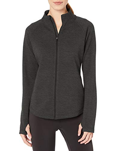 Amazon Essentials Damen Fleece Lined Full-zip Mockneck Jacket Fleecejacke, Charcoal Heather, XL