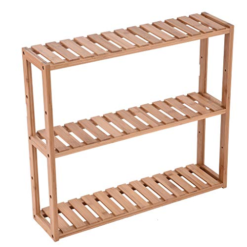 Bamboo Bathroom Shelf 3-Tier Multifunctional Adjustable Layer Rack Wall Mounted Utility Storage Organizer Free Standing Kitchen Living Room Holder Stand