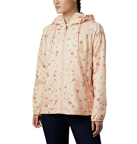 Columbia Women's Side Hill Printed Windbreaker, Peach Cloud Bath Floral Print, X-Large