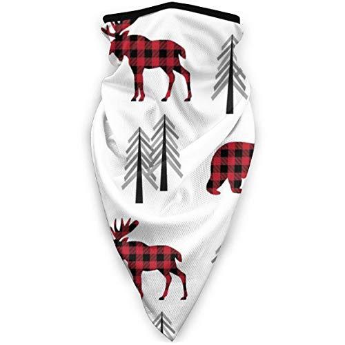 KKs-Shop Woodland Moose Bear Trees Rote Plaid Bären Buffalo Plaid Check Wald Baby Kinderzimmer Bettwäsche Gingerlous Wrap Bandanna Kopfbedeckung SFK-942