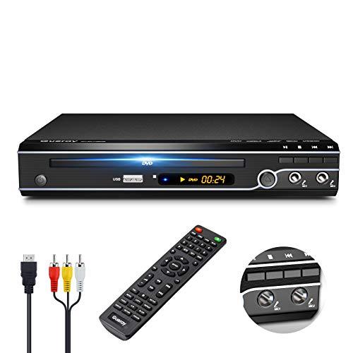 Gueray Kompakter DVD-Player Multi-Regionen Ohne Code mit USB-Eingang HDMI-kompatibel AV Dualer MIC-Anschluss und Fernbedienung und CD Ripping Funktion für TV-Anschluss