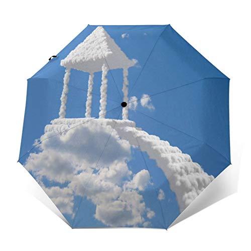 TISAGUER Paraguas automático de Apertura/Cierre,Gazebo Nubes Cielo,Paraguas pequeño Plegable a Prueba de Viento