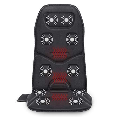 COMFIER Cojín de asiento de masaje con calor - 10 motores de vibración, 3 almohadillas térmicas, masajeador de respaldo de silla, para aliviar el dolor, regalos ideales