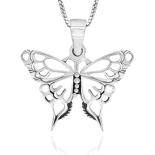 925 Sterling Silver Celtic Butterfly Pendant Necklace, 18'