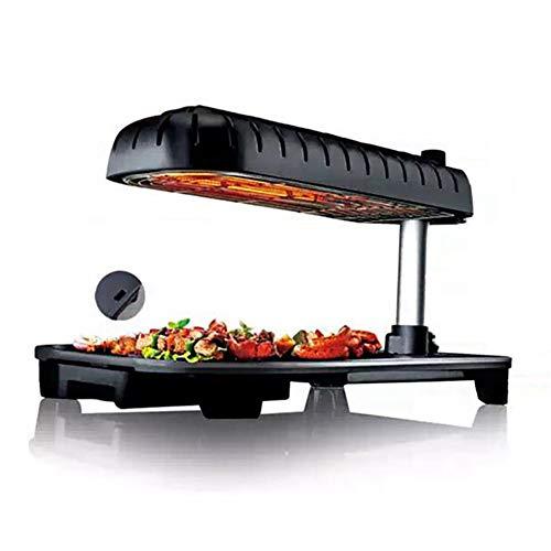 Yangyang Elektrogrill Tischgrill,Elektrogrill antihaftbeschichtet Grillplatte, raucharmer Indoor BBQ Grill, Abnehmbarer Auffangbehälter Verstellbarer Thermostat
