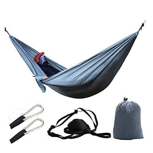 TabloKanvas Hamaca de camping doble para exteriores, con mosquetón y cuerdas, portátil (color: 18, tamaño: 270 x 140 cm)