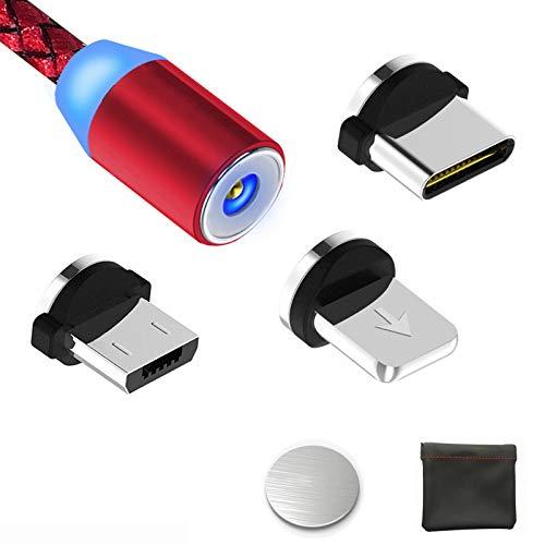 Magnétique Câble USB Chargeur avec LED Light USB Type C Micro Charge Ultime Rapide/NO Synchro - 3 en 1 Nylon Tressé Câble Chargeur pour Sam Sung, Nexus, Oneplus, Sony, Huawei