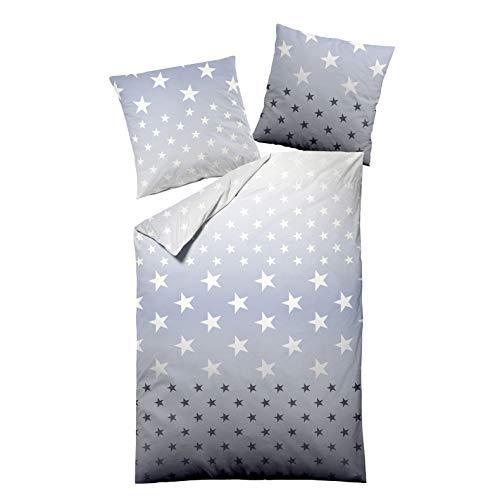 Dormisette Edelbiber Bettwäsche 2 teilig Bettbezug 135 x 200 cm Kopfkissenbezug 80 x 80 cm Sterne 9404-50 Multi