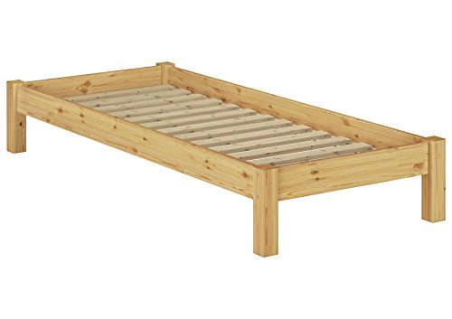 Erst-Holz® Einzelbett Futonbett 90x200 Kiefer Natur Massivholz-Jugendbett Singlebett Rollrost