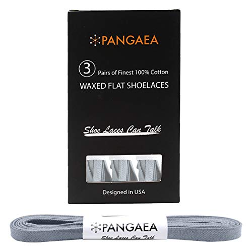 """[3 Pair] Pack Waxed Flat Oxford Shoe Laces for Dress Shoes Chukka 1/4"""" Wide … (63"""" (160cm), Light Gray)"""