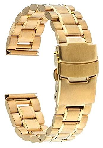 Correa de Reloj Universal de Acero Inoxidable 18 mm 20 mm 22 mm 24 mm Correa de Reloj de Repuesto Correa de Hebilla de Seguridad Pulsera Correa de Reloj Negro Dorado Plateado Acero Inoxidable (Color: