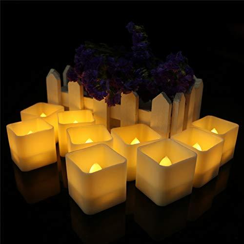 Luz De Vela LED De 12 PCS, Vela Cuadrada Creativa Romántica, Vela Electrónica Sin Humo, Adecuado Para Familia/Fiesta/Halloween/Navidad (Blanco cálido)