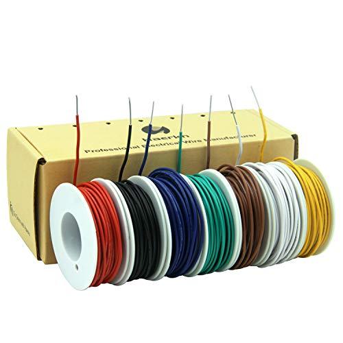 0.2mm² 24awg Elektrischer Draht Kabel aus solide verzinntem Kupferdraht 7 Farben je 9 Meter Spule flexible DIY