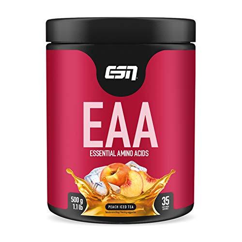 ESN EAA Pulver – 500g – Peach Iced Tea – Enthält alle 8 essentiellen Aminosäuren ( EAAs – essential amino acids ) – vegan – instant – 10.000 mg EAAs pro Shake – 35 Portionen – Made in Germany