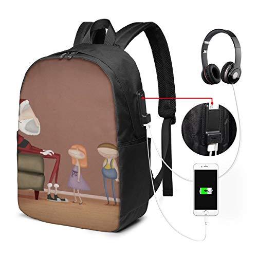 Reise-Laptop-Multifunktions-Reisetaschen, Canvas-Schulter-Daypack-Rucksack Mit USB-Ladeanschluss Und Kopfhörerloch Für Teenager Mädchen Jungen -Kunst der fiktiven Figur
