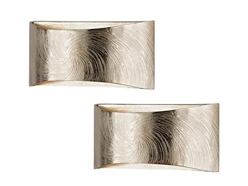 2er Set dimmbar LED Wandleuchte SHINE-ALU, Up- & Down Licht, Champagner goldfarbig, Breite 30cm, Fischer Leuchten