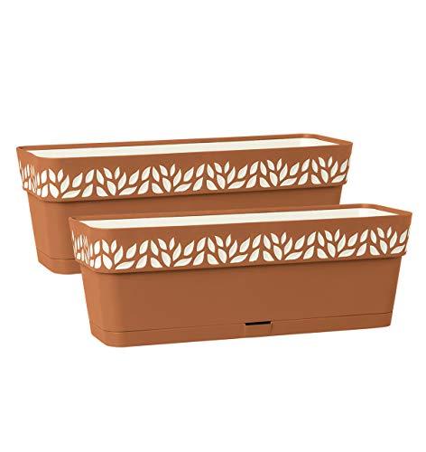 Kreher 2 Stück Pflanzkästen CLOE 50 cm in verschiedenen Farben. Hochwertiges 3D-Design in leicht Matter Ausführung mit integrierten Wasserspeicher (2, Terrakotta)