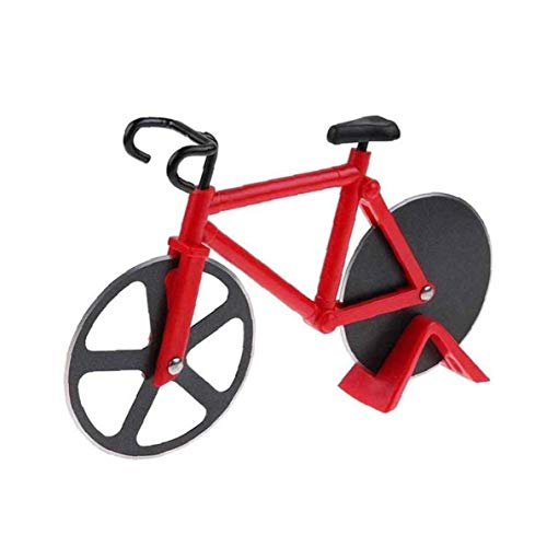 Fahrrad Pizza Schneidrad Bike Pizza Slicer Dual-Edelstahl Non-Stick Trennscheiben Mit Einem Stand Am Besten Für Kühle Küche Gadget Kühlen Männer Geschenk