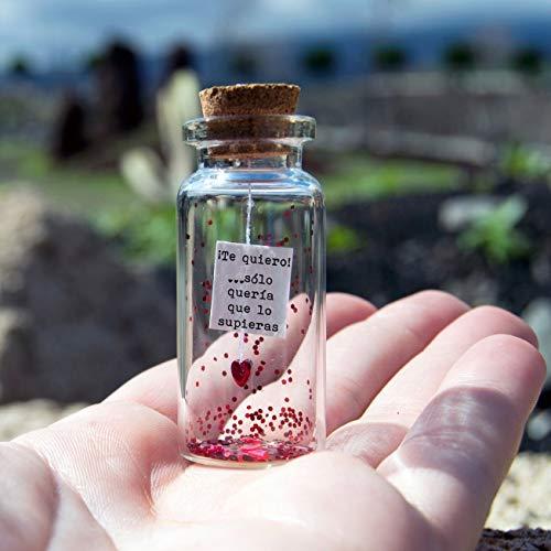 Te quiero. Sólo quería que lo supieras. Mensaje en una botella. Mini
