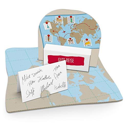 itenga Weltkarte Geldgeschenk Gastgeschenk Verpackung Reisekasse mit Bodenplatte, Geschenkkarte und Stickerbogen