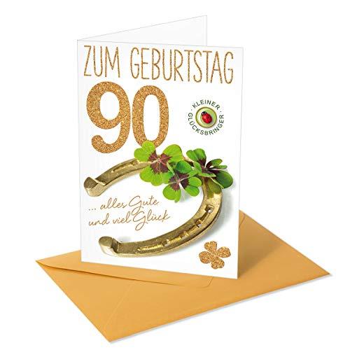 Goldstückchen Grußkarte/Glückwunschkarte Zahlengeburtstag 90 - Hufeisen