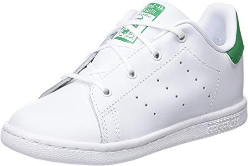 adidas Jungen Unisex Kinder Stan Smith Fitnessschuhe, Weiß (Ftwbla/Verde 000), 23 EU
